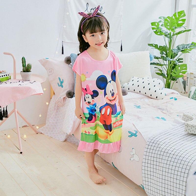 Geschickt Mädchen Prinzessin Nachthemden Sommer Hohe-grade Druck Cartoon Nachthemd Gestrickte Pyjamas Nachtwäsche Kinder Kinder Mädchen Nachthemd