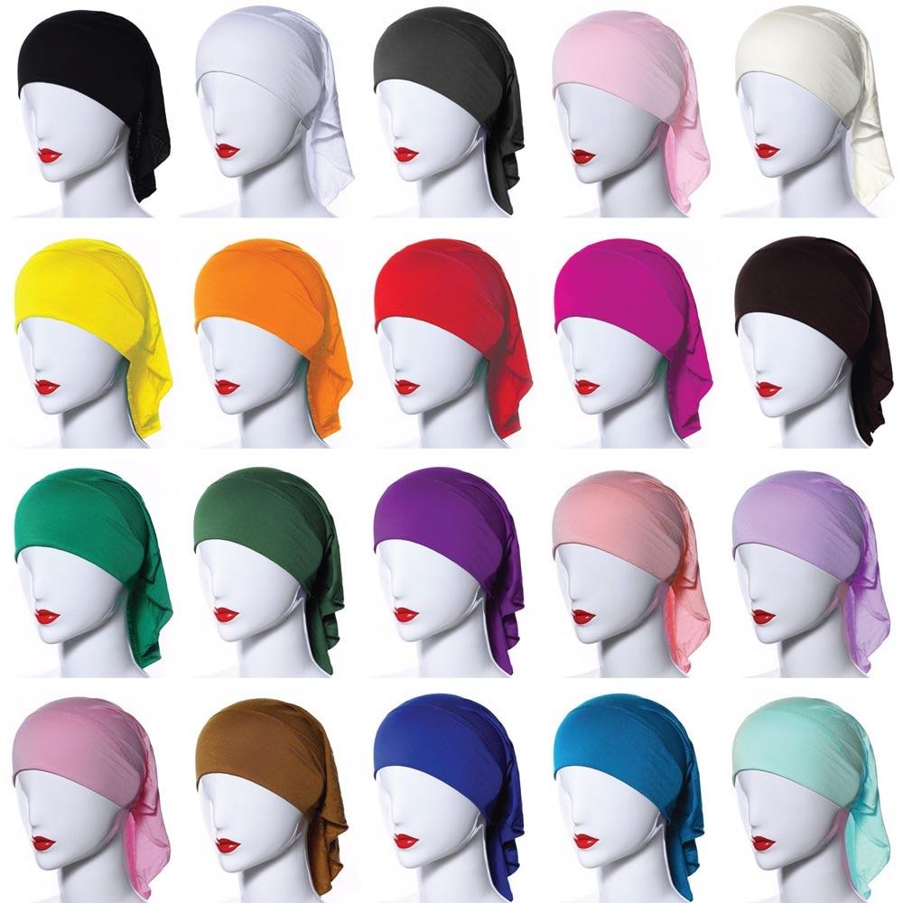 20 Colors Muslim Women Soft Bone Ninja Inner Hijab Caps Islamic  Under scarf Hats Islamic Head Cover Chemo Cancer Headwear Wrap NIslamic  Clothing