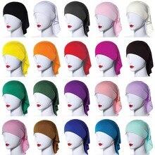 20 Colors Muslim Women Soft Bone Ninja Inner Hijab Caps Islamic Under scarf Hats Islamic Head Cover Chemo Cancer Headwear Wrap N