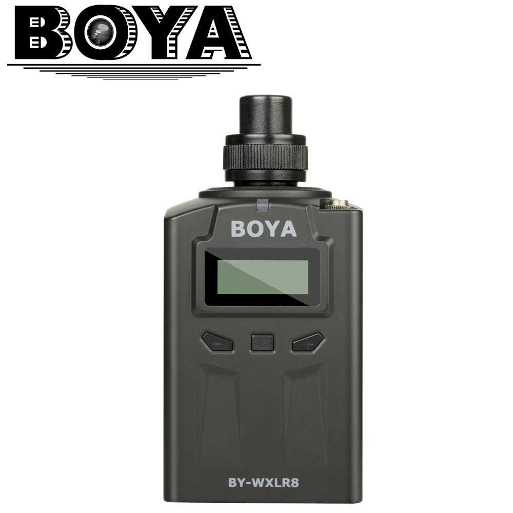BOYA BY-WXLR8 Plug-on XLR Audio Transmitter with LCD Display for BY-WM8 BY-WM6 Wireless Lavalier Microphone System  wholesale 5 pics beige mini lavalier condenser microphone conference microfone for shure wireless transmitter xlr mini mikrofon