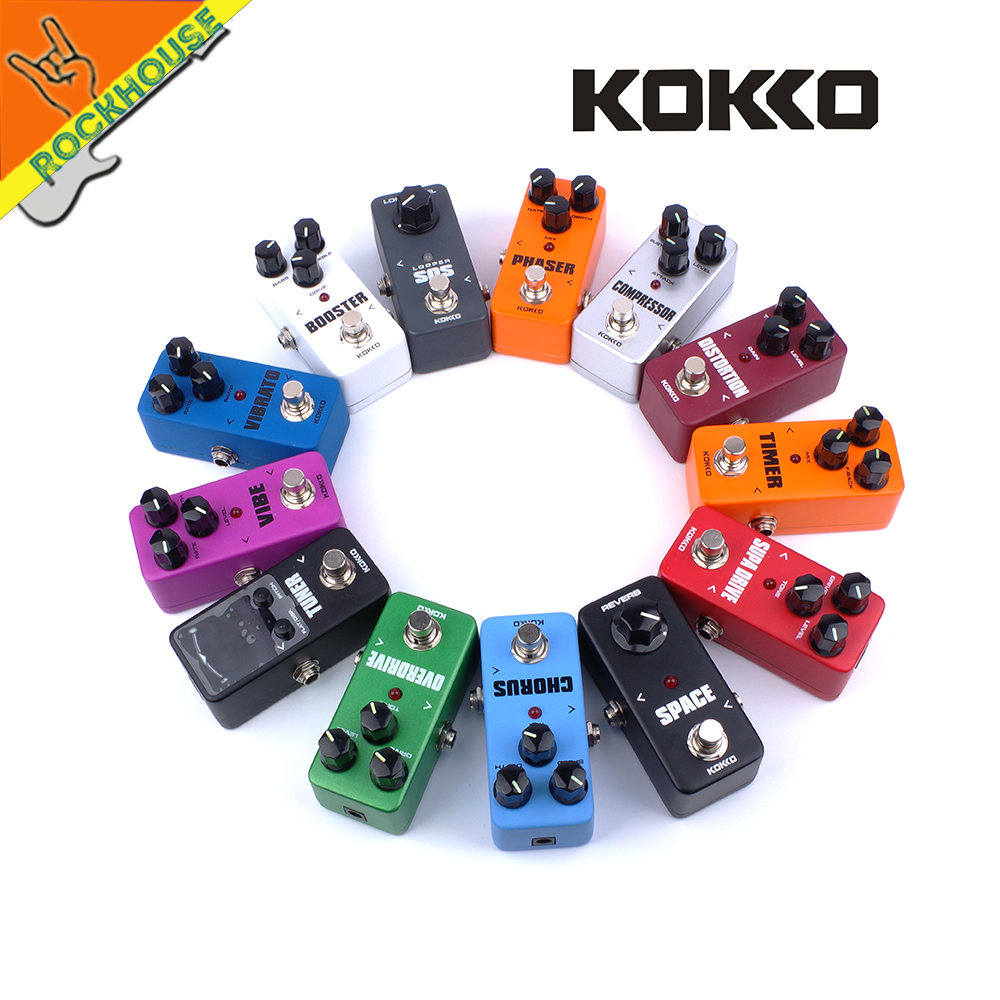 KOKKO Guitar Effects Pedal Chorus Compressor Overdrive Distortion Booster Vibe Vibrato Loop Reverb Phaser Tuner Guitar Pedal