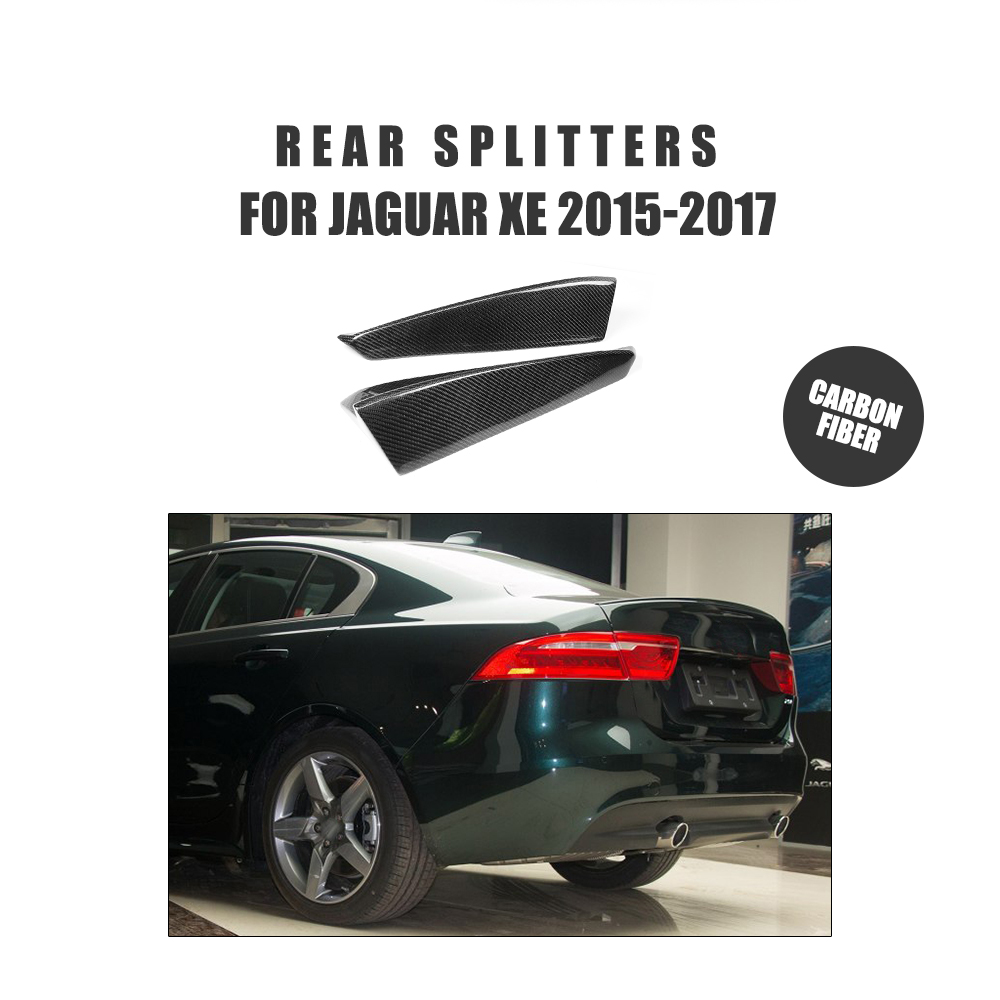 Jaguar Xe Rear: 2PCS/Set Carbon Fiber Rear Bumper Lip Splitters Side Chin