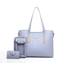 2017 New Women Handbag Big Totes 3 Piece Shoulder Bag Female Serpentine PU Leather Hand Bag American Ladies Large Capacity Totes