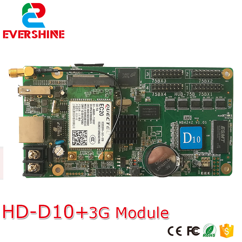 High reliability excellent product D10 HD-D10+ 3G module rgb led sign controller card for Windows, Taxi, advertising led screen цена