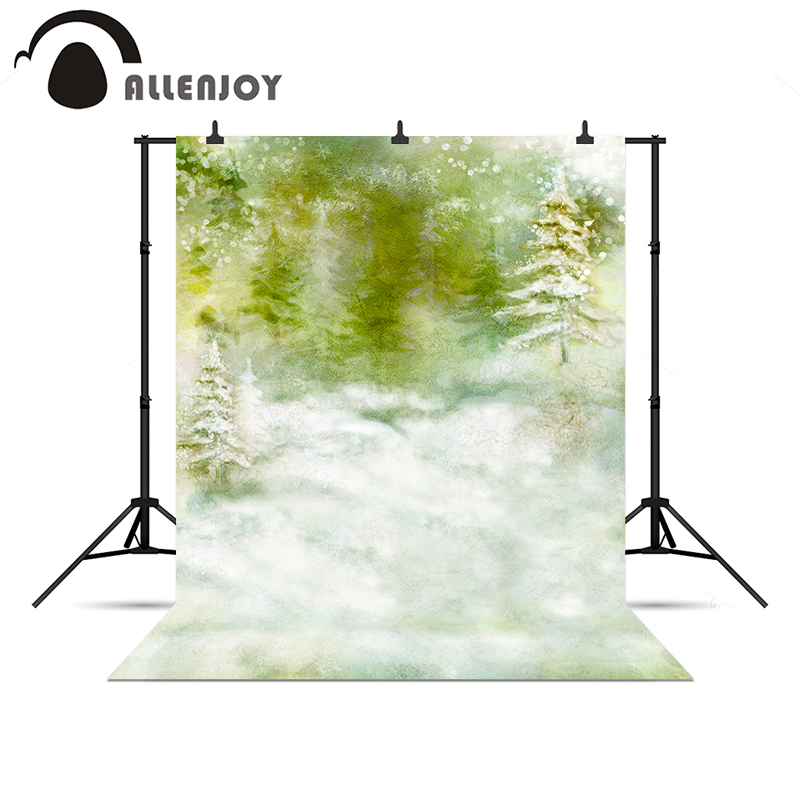 Allenjoy photocall Forest Snow Winter Wonderland New Year photo backdrop backgrounds for photography a bag vinyl cloth high quality computer printed winter wonderland backdrop white snow photography backgrounds