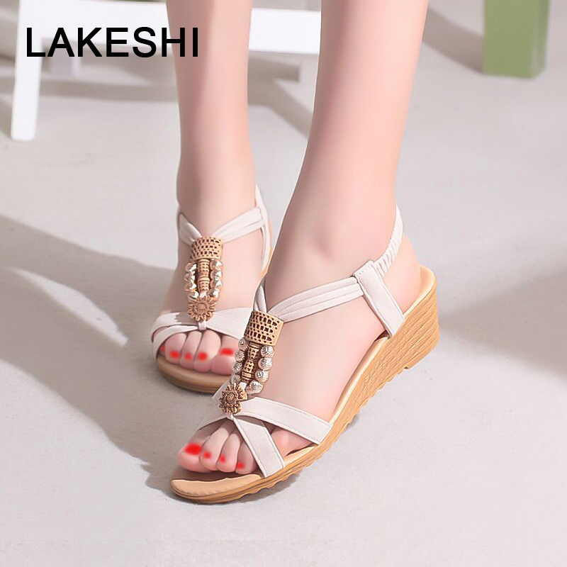 LAKESHI Women Sandals Bohemian Wedge Sandals Slip-On Ladies Sandals 2018 New String Bead Peep Toe Sandals Summer Female Shoes xiaying smile new summer women sandals casual fashion shoes bohemian style flats ladies hollow string bead flora slip on shoes