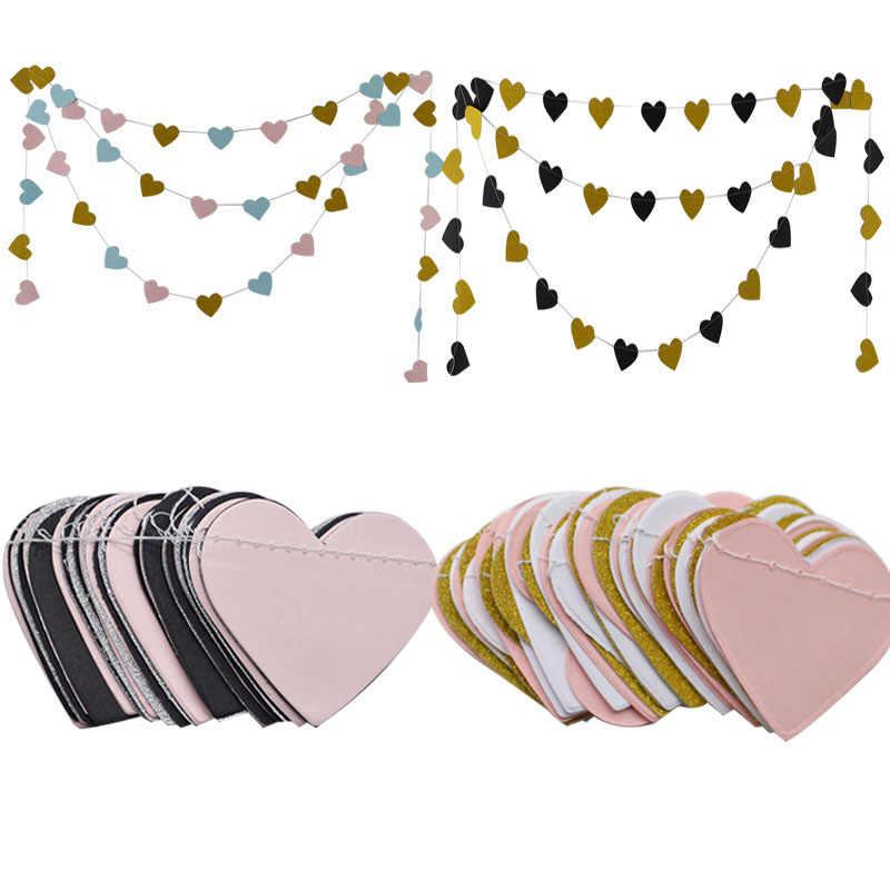 3 м маленькая гирлянда из бумаги с сердцами домашний Свадебный декор Висячие баннеры банты дети день рождения, детский душ струны стример вечерние принадлежности