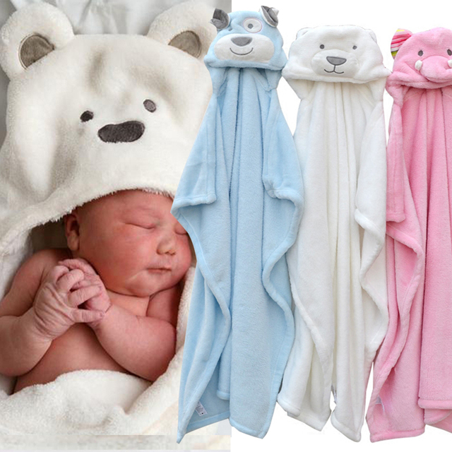 Fleece Deken Baby.Schattige Beer Hond Olifant Baby Hooded Badjas Handdoek Baby