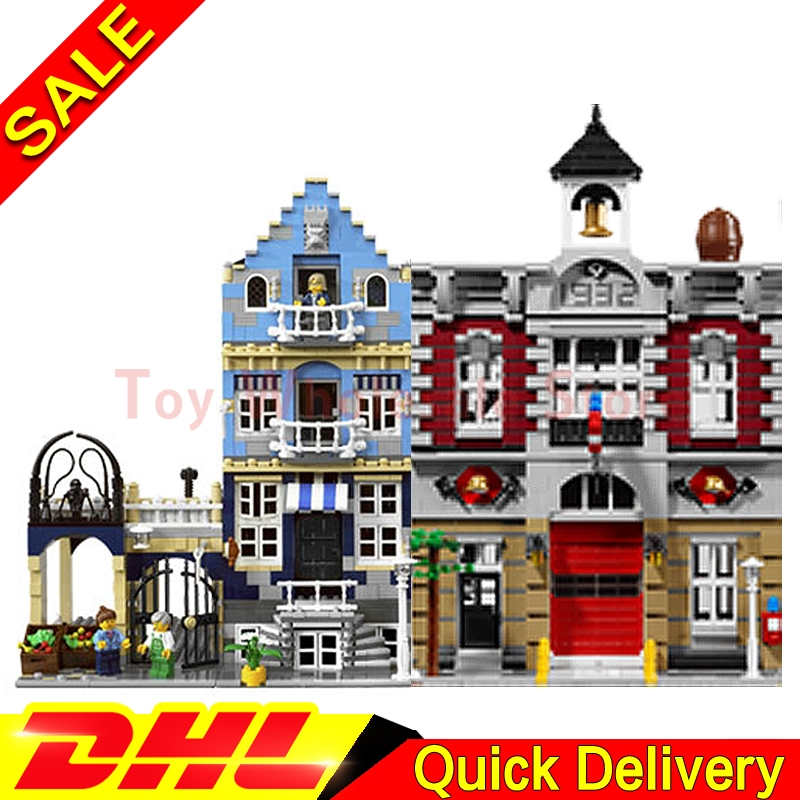 Lepin 15004 Fire Brigade +Lepin 15007 European Market Model Building Street Sight Kit Blocks Bricks lepins Toy Clone 10197 10190 a toy a dream lepin 15008 2462pcs city street creator green grocer model building kits blocks bricks compatible 10185