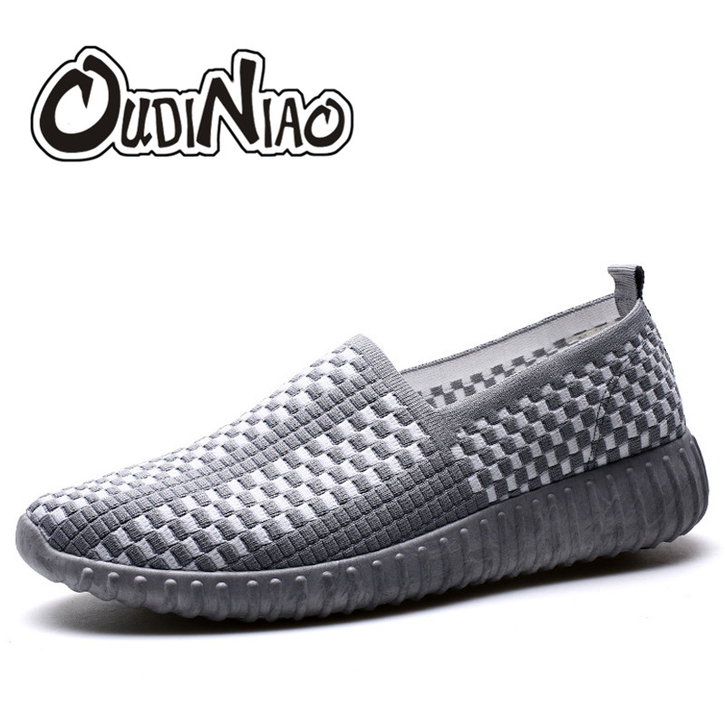 OUDINIAO Casual Shoes Men 2018 White Mens Shoes Casual Slip On Hot Sale Nylon Light Men Shoes Loafers Summer Breathable Fashions