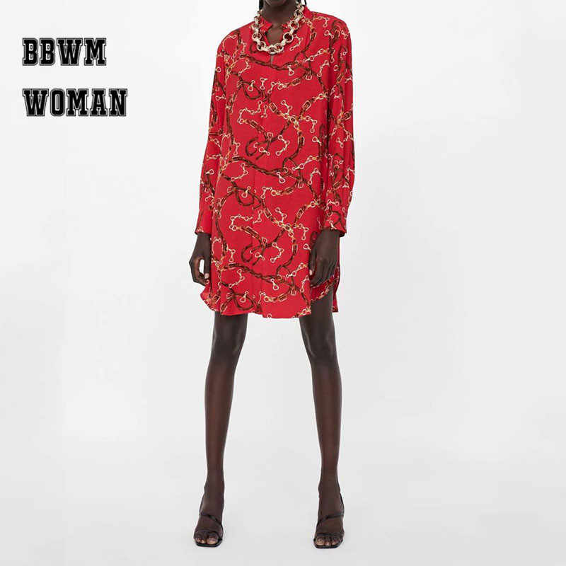 637984215dc9 Gold Chain Printed Red Women Dress Round Neck New Year Celebration  Bottoming Female Dresses ZO1337