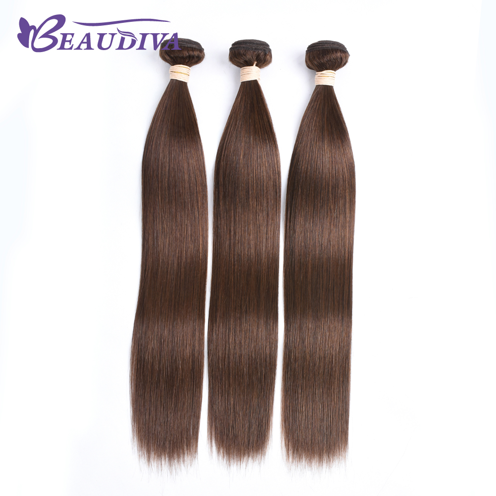 BEAU DIVA 4# color Hair Indian Straight Hair Bundles 100% Human Hair Weave Bundles 95-100g One PC Remy Hair Weaving Extensions