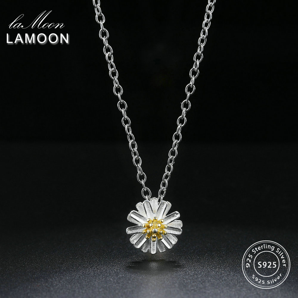 LAMOON 2018 New Lovely 2 Colors Chrysanthemum Flower Pendant Necklace 925-Sterling-Silver Jewelry Fine for Women LMNY006LAMOON 2018 New Lovely 2 Colors Chrysanthemum Flower Pendant Necklace 925-Sterling-Silver Jewelry Fine for Women LMNY006