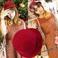 Мода Осень и зима шерстяные шляпы лук ведро шляпы теплый hat cap дамские аксессуары