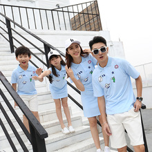 f51fe246 Family Matching Clothes Summer Baby Girl Shirt Dress Cotton Short-sleeve  Solid Polo Shirt Father