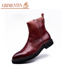 GRIMENTIN Elegant Italy designer fashion men boots genuine leather comfortable zip cowboy style man shoes for business leisure