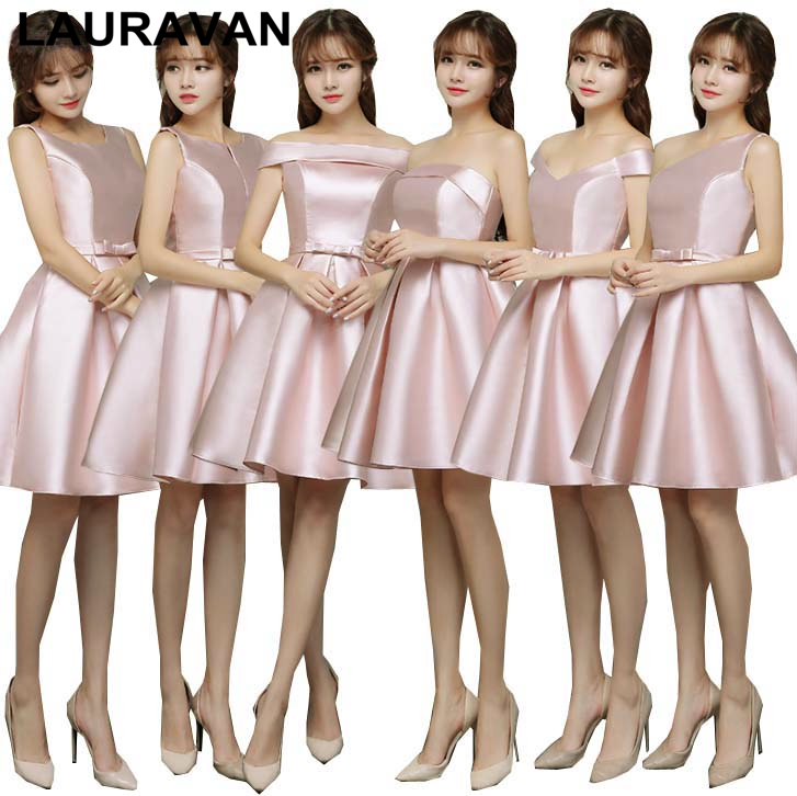 Robe De Soiree Elegant High Fashion Sexy Pale Pink New Satin Bridesmaid And Party Dresses Short 2019 Ladies Dresss Ball Gown