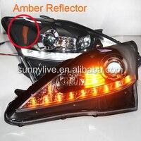 Для Lexus IS250 СВЕТОДИОДНЫХ Фар с Объективом Проектора 2006-2010 Amber Reflector