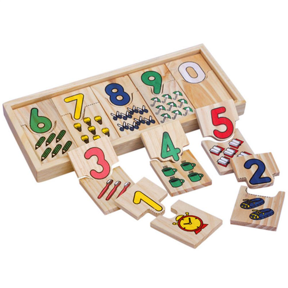 Baby Puzzle Toys Wooden Math Board Number Counting Geometric Shape Match Educational Kids Toys Color Figure Cognitve Toys Set