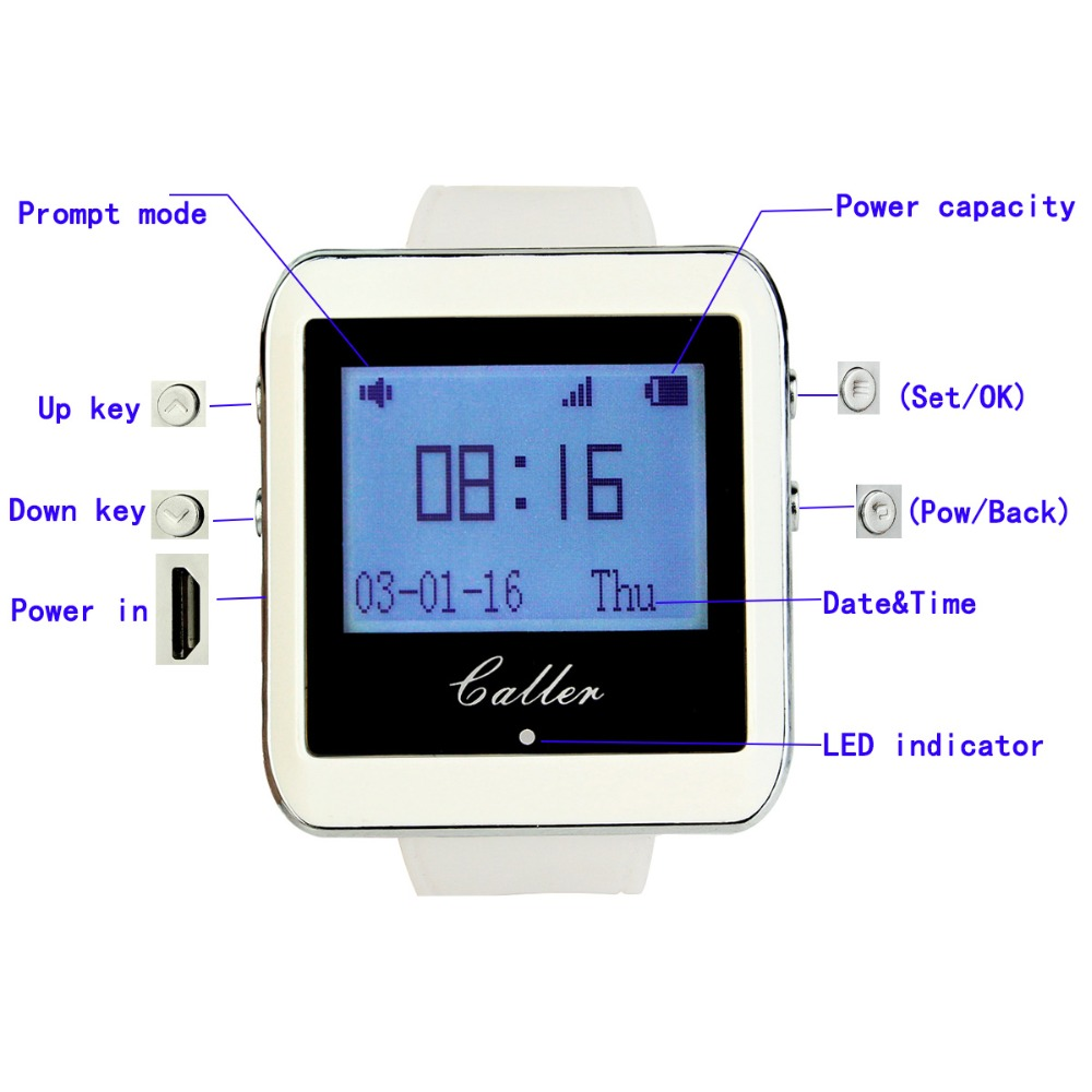 Image 5 - RETEKESS 433MHz Wireless Wrist Watch Receiver+5 Calling Transmitter Button Call Pager Four key Pager Restaurant Equipment-in Pagers from Computer & Office