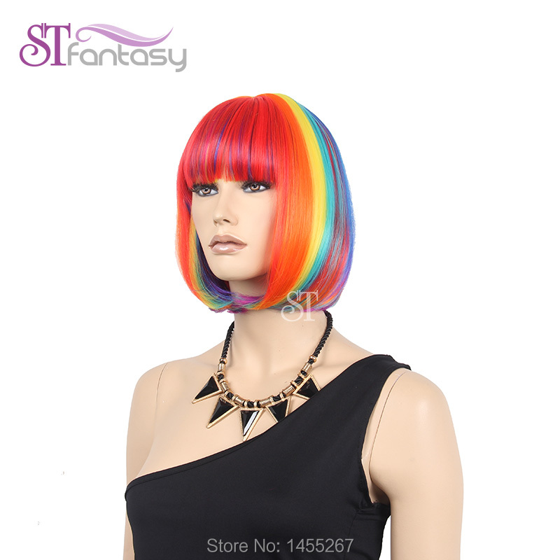 New Free Shipping Short Bob Colorful Rainbow Wigs For - Hairstyle for color run