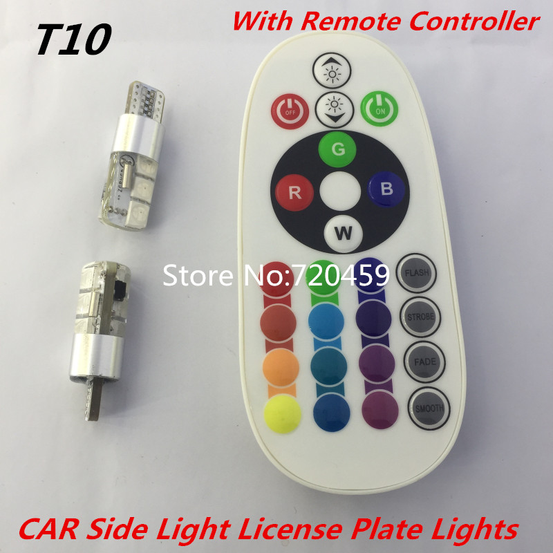 SMD 5050 RGB Car Reading Wedge Light Lamp T10 RGB car light With Remote Controller for Auto CAR Side Light License Plate Lights 4pcs lot t10 5 smd 5050 led warm white light 6000k car license plate dome door side marker trunk bulbs instrument panel lamp