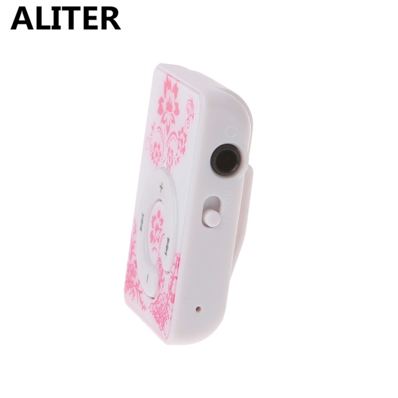 Chinese style Floral Pattern Mini Clip Music MP3 Player With Earphone USB Cable