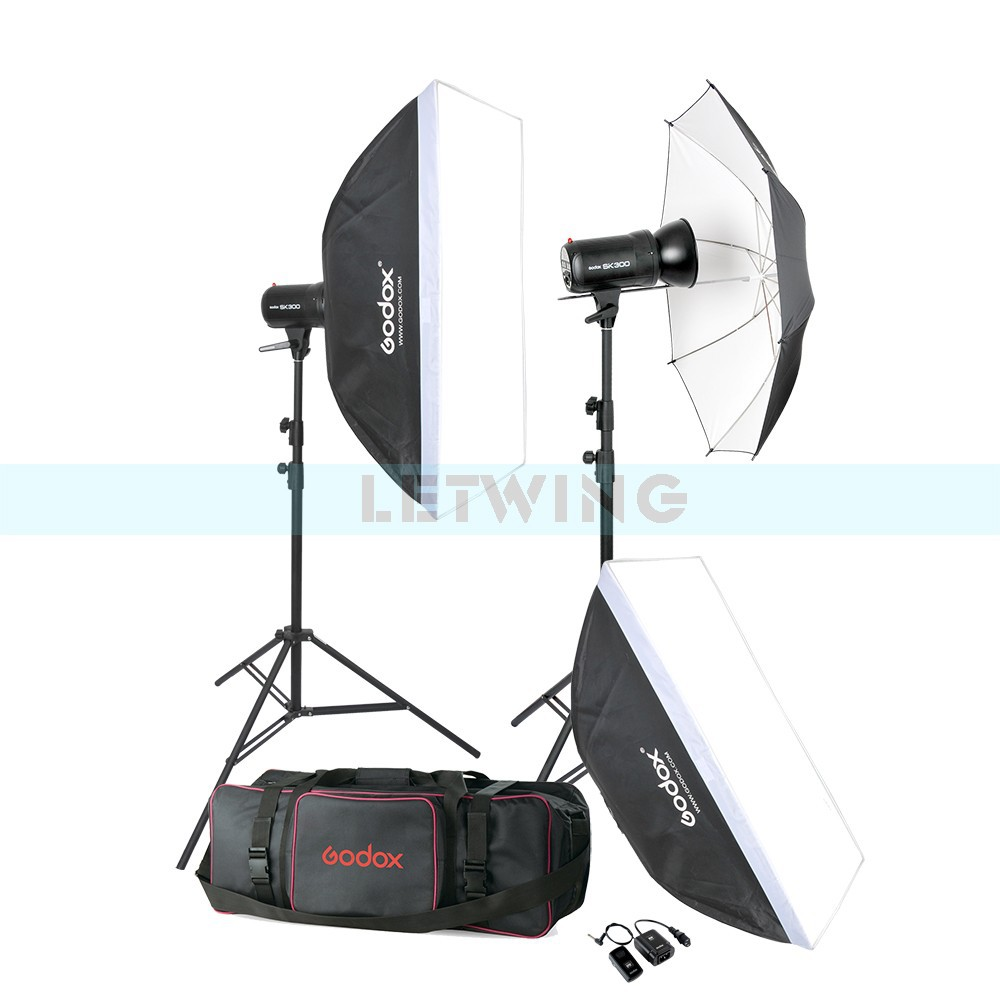 Godox 600W Photo Studio Flash Lighting set (2 x 300W) Photography Strobe Light & Softbox & Light Reflector Portrait Kit