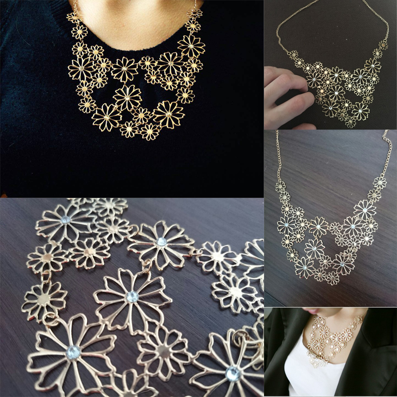 accessory flower ethnic chips products retro metal necklace wood