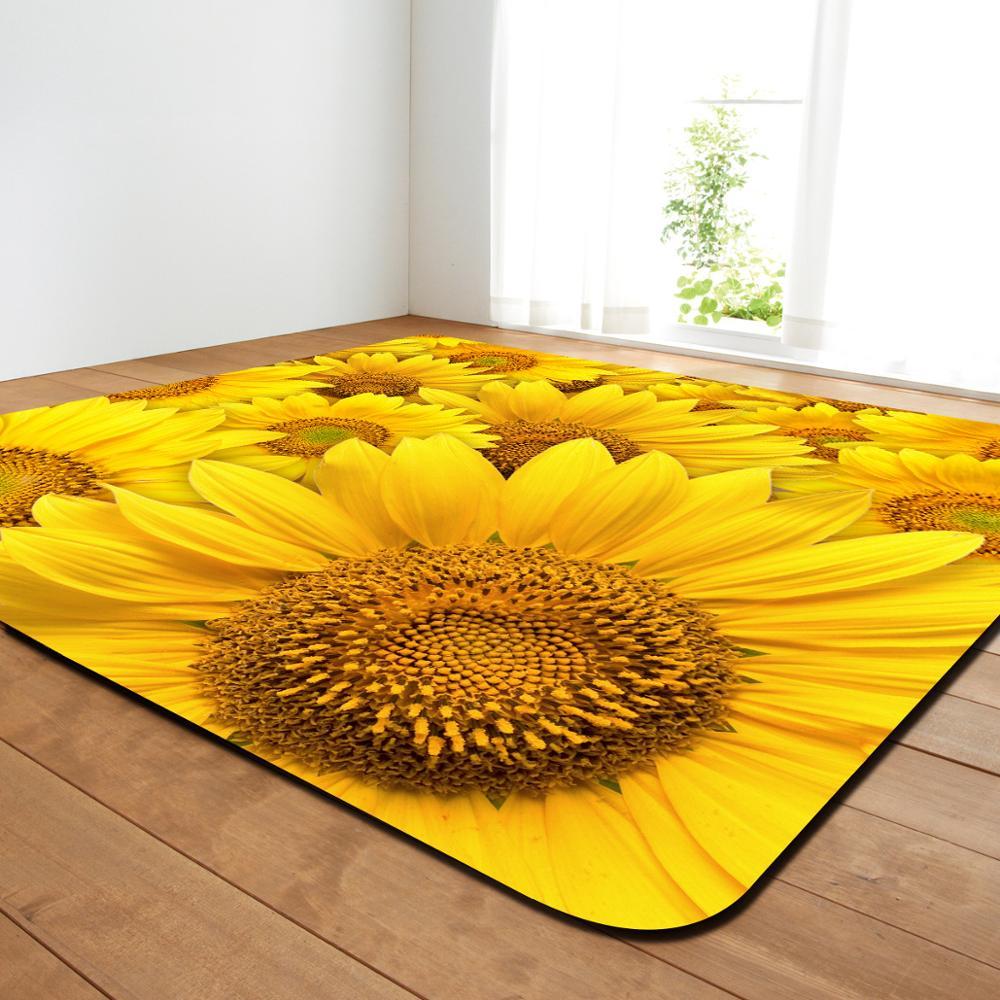 Creative fleur imprimer moderne tapis chambre salon thé Table tapis cuisine salle de bains antidérapant tapis couverture décor à la maison - 4