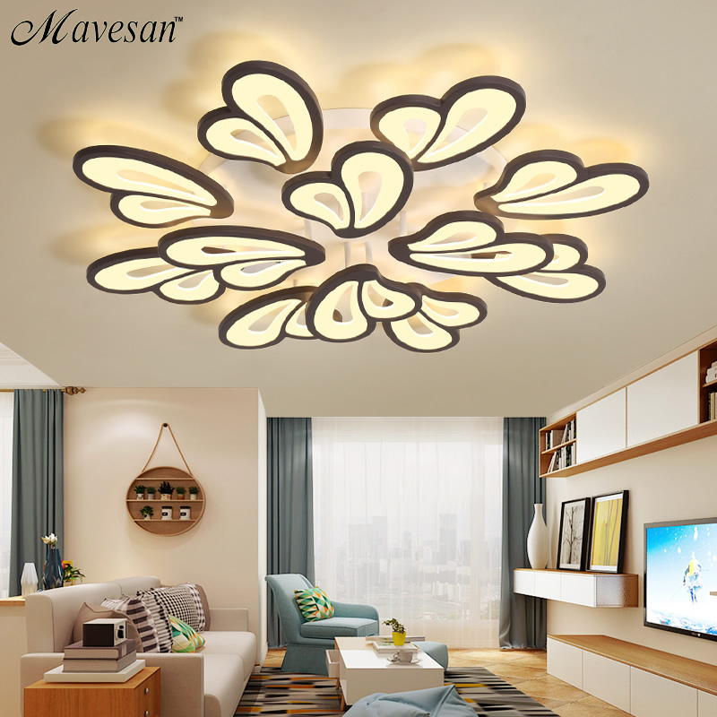 White Frame Modern Led Ceiling Lights For Living Room Bedroom Plafond Led Home Lighting Ceiling Lamp Home Lighting Fixtures Dero Ceiling Lights