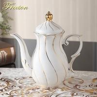 British Royal Gold Inlay Bone China Tea Pot with Infuser 1000ml Europe Advanced Porcelain Teapot Teatime Ceramic Coffee Pot