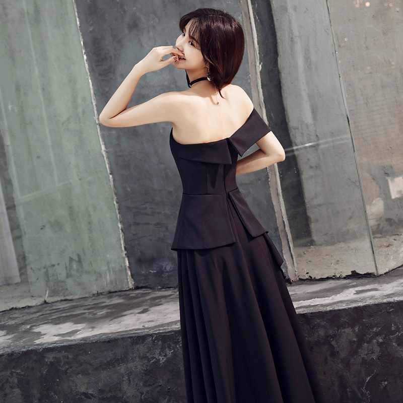 Robe Soiree Longue Femme 2019 Resmi Elbiseler gece elbisesi 2019 Nedensel Siyah Bir Omuz Mezuniyet Parti Elbise Balo 2019 TS1029