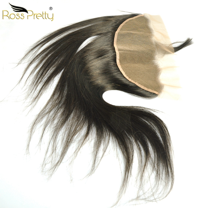 Baby Hair And Pre Plucked Brazilian Straight Human Hair Remy Hair Ear to Ear Lace Frontal Closure 13X4 Free Part and Middle Part