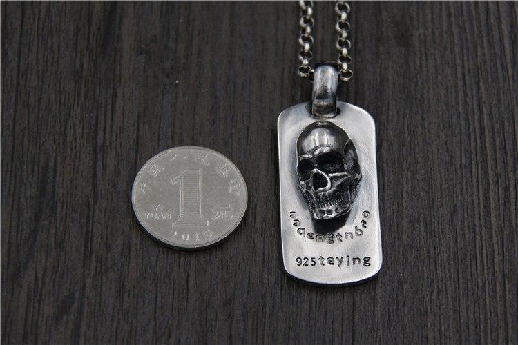 C & R Real 925 collier en argent Sterling rétro personnalité relief crâne tag style punk hommes Thai argent bijoux fins - 2