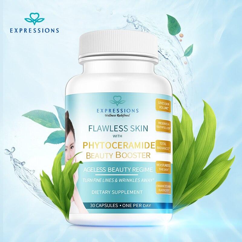 30pcs/bottle Flawless Skin with Phytoceramide Ageless Beauty Vitamin C Skin Care Anti Aging Moisturizer Facial Essence Vitamin E