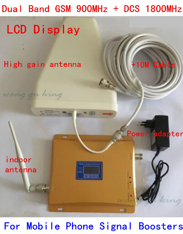 1set Dual Band Repeater 900 1800 Cell Phone Booster Amplifier LCD Display GSM DCS Dual Signal Booster With LDPA Whip Antenna