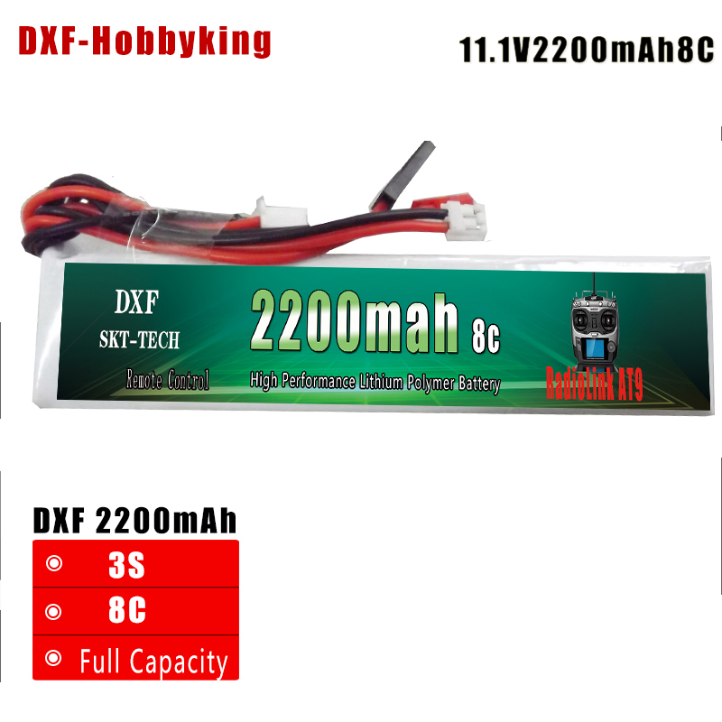 2017 DXF Good quality RC Battery Li-Polymer 3S 11.1V 2200MAH 8C 3PK Lipo Battery For RadioLink AT9 Transmitter