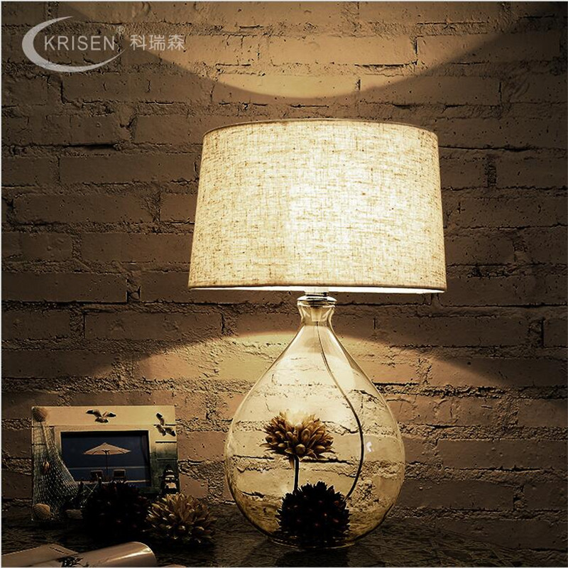 Creative Handmade Country Brief Glass Vase Fabric Led E27 Table Lamp for Wedding Decor Living Room Bedroom Restaurant 1451