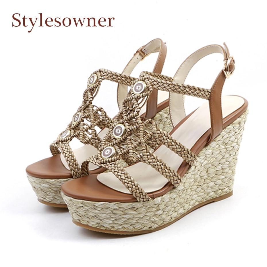 Здесь продается  Stylesowner boho straw weave platform wedge heel women sandals shoes peep toe high heel summer shoes lady holiday casual sandals  Обувь