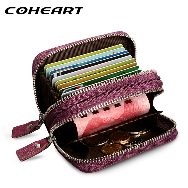COHEART Genuine Leather Card Wallet Women Fashion 100% real cowhide top quality women's purse female credit card holders !