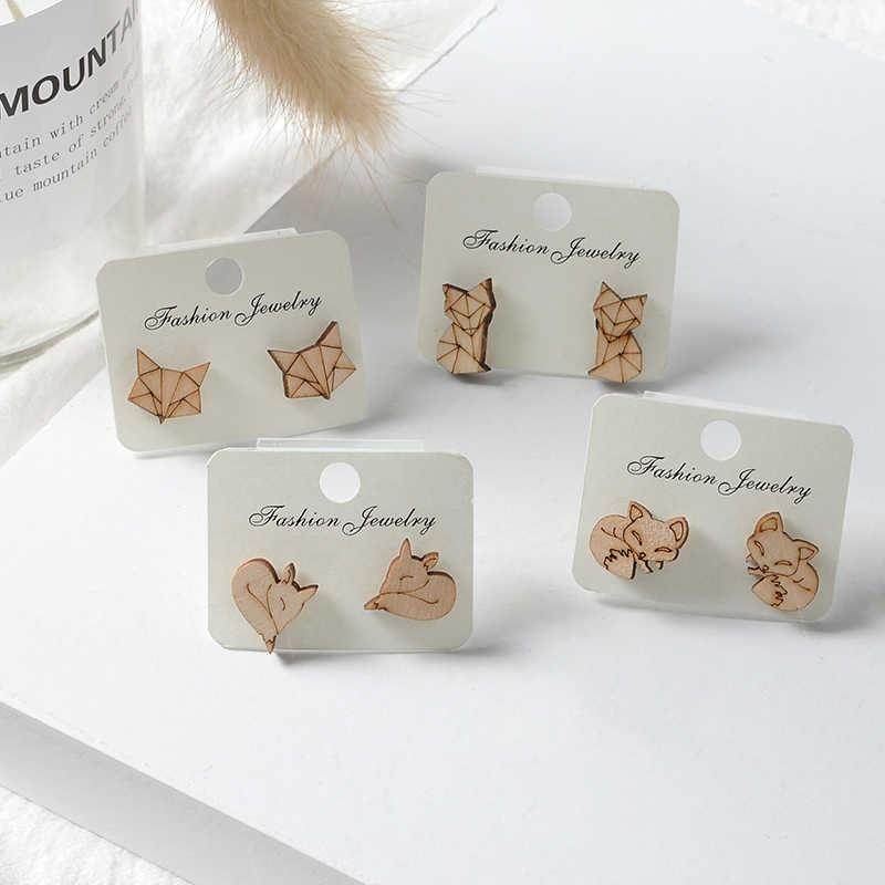 Nette Holz Tier Origami Fuchs Stud Ohrringe für Frauen Bambus Holz Einfache Origami Fuchs Post Ohrring Schmuck Party Geschenke