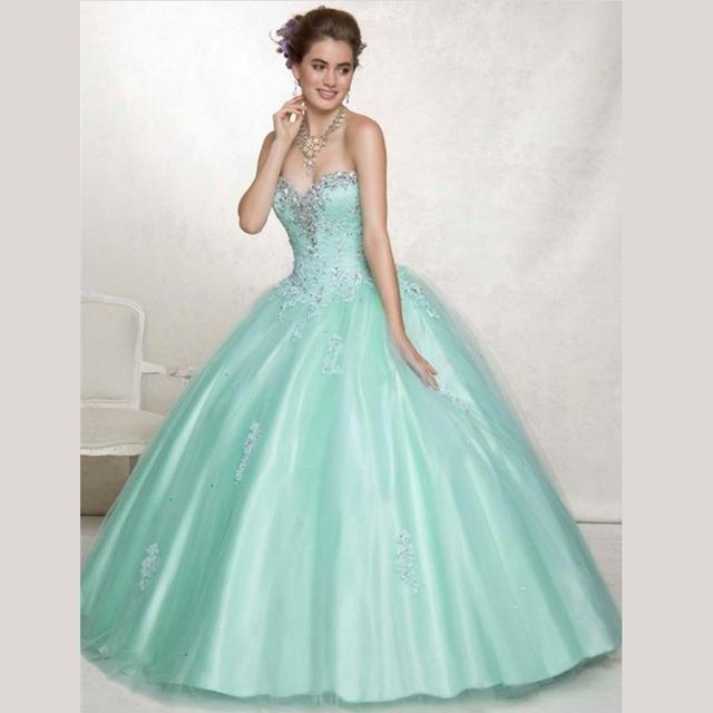 Vestidos De 15 Anos 2016 clássico vestido De tule Vestidos com Exquisite Beading e cristais Quinceanera 15 Anos