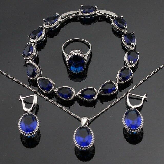 Серебряный Цвет Ювелирные Наборы Blue Создано Sapphire Браслеты Серьги Ожерелья Кольца Для Женщин Бесплатный Подарочная Коробка