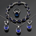 Silver Color Jewelry Sets Blue Created Sapphire Bracelets Earrings Set Necklace Pendant Rings For Women Free Gift Box