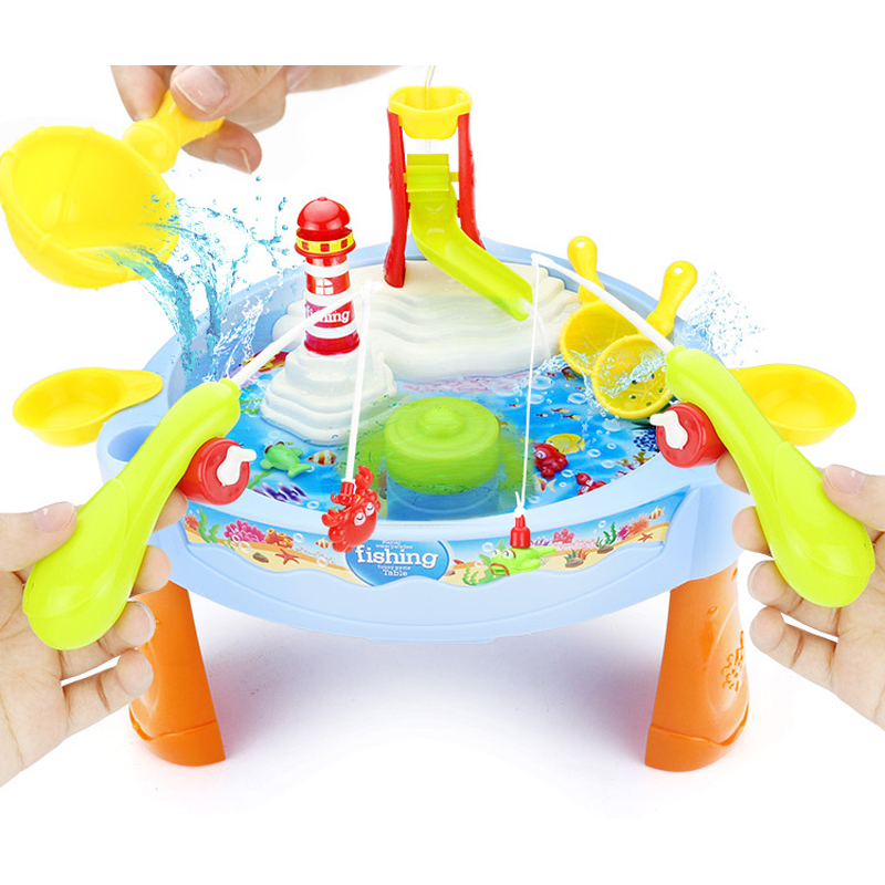 Novel Magnetic Electric Fishing Toys Table with Light Music Summer Water Toys Kids Birthday Christmas Gift Toys for Children