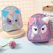 New Cartoon Backpack Owl PU Laser Backpack Children Cute Small Bag Ladies Travel Bag