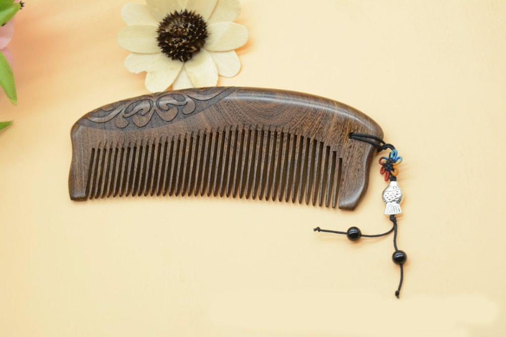 Pockets wooden combs black gold sandalwood very narrow teeth comb no static lice beard comb hair styling|Combs| |  - title=