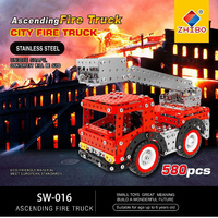 INKPOT Stainless Steel Block Kit Model Building Blocks Bricks City Fire Truck 3D DIY Construction Technic Series Toys For Kids