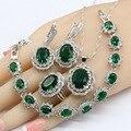 Набор ювелирных изделий для женщин из серебра 925 пробы с зеленым кристаллом  ожерелье  подвеска  браслеты  кольца  подарочная коробка